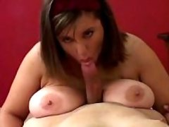 Pretty chubby girl titfucks n sucks