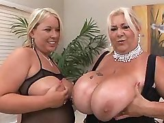 Hottie and granny caress her boobs