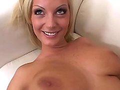 Hot busty blonde caresses big boobs