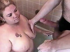 Sex addicted fatty gets off in bed