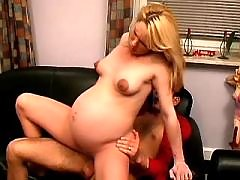 Pregnant blonde jumps on hard dick