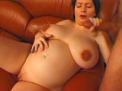 Pregnant mature gets cum on boobs