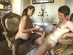 Horny pregnant milf licks out cream