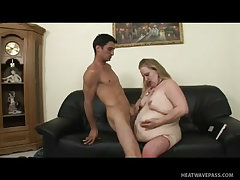 Liola s fat rolls jiggle while she takes a big cock stroking