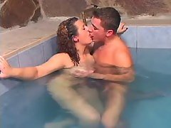 Sensual fatty has oral fun in pool