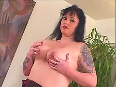 Tattooed fatty play w toy